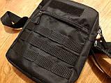 Черная мужская тактическая сумка барсетка, мессенджер., фото 4