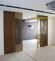 Стеклянные раздвижные двери Agile-150 Syncro (синхронное открывание двух створок), фото 1