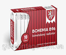 Биметаллический радиатор толстый  Bohemia B96  557/80/96мм. 10 секций. Надежный биметалл до 60 бар. Чехия
