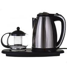 Электрочайник 1,8л + чайник заварник 500мл. на подставке TyT
