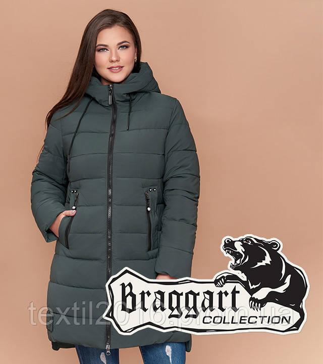 Braggart Youth 25225 | Женская зимняя куртка большого размера серо-зеленая