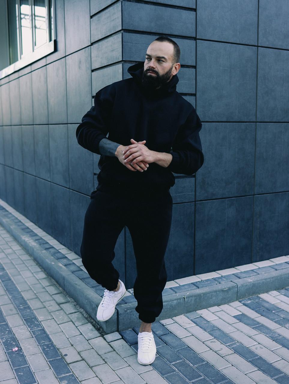 Мужской черный спортивный костюм Оверсайз