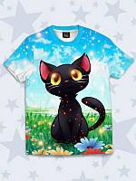 Детская футболка с принтом Черный Котенок на поляне Размер 1 - 10 лет