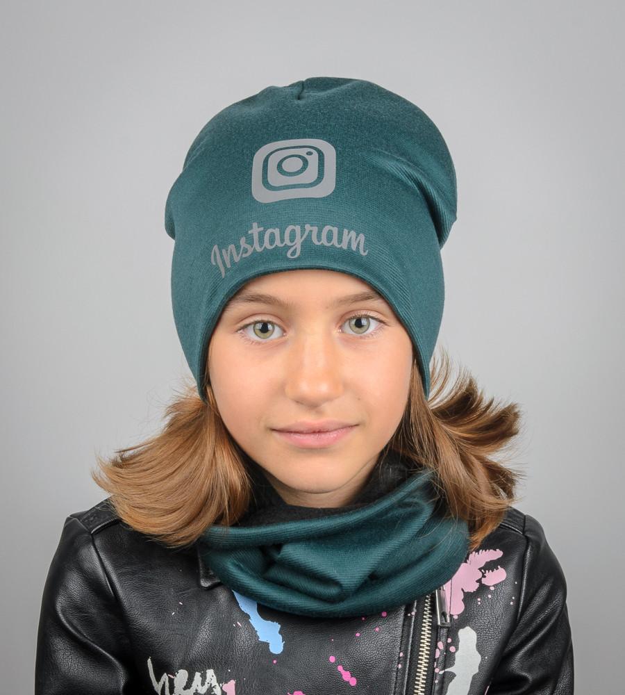Комплект молодёжный светоотражющий принт Instagram (20208), Зеленый