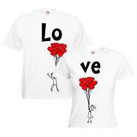 """Парная футболка """"Букет с сердечек"""""""