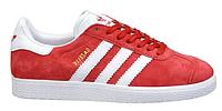 "Женские Кроссовки Adidas Gazelle ""Red White"" - ""Красные Белые"" (Копия ААА+)"