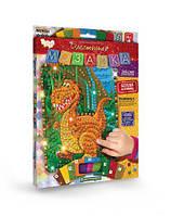 """Набор для творчества """"Блестящая мозаика"""" Динозаврик, Dankotoys, crystal mosaic kids,выкладывание картин из"""