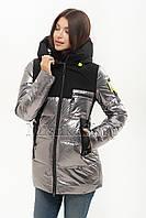 Красивый модный женский пуховик Peercat 20-610 цвета металлик, фото 1