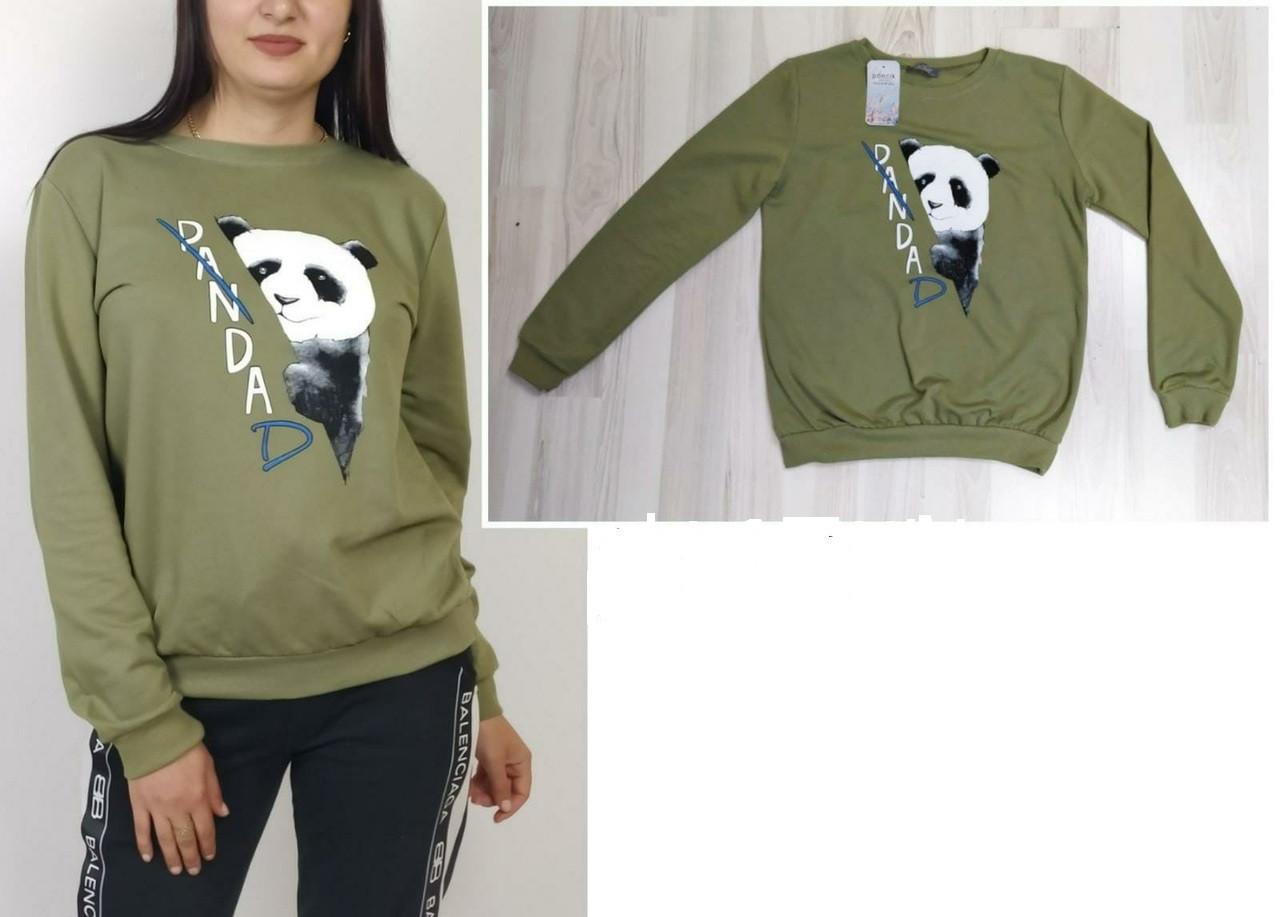 Женские модные яркие свитера (Турция) с принтом Панда   оптом и в розницу