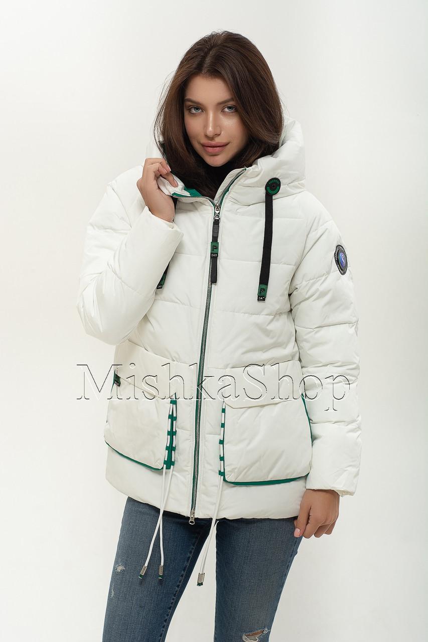 Модный женский пуховик Peercat 20-808 белого цвета