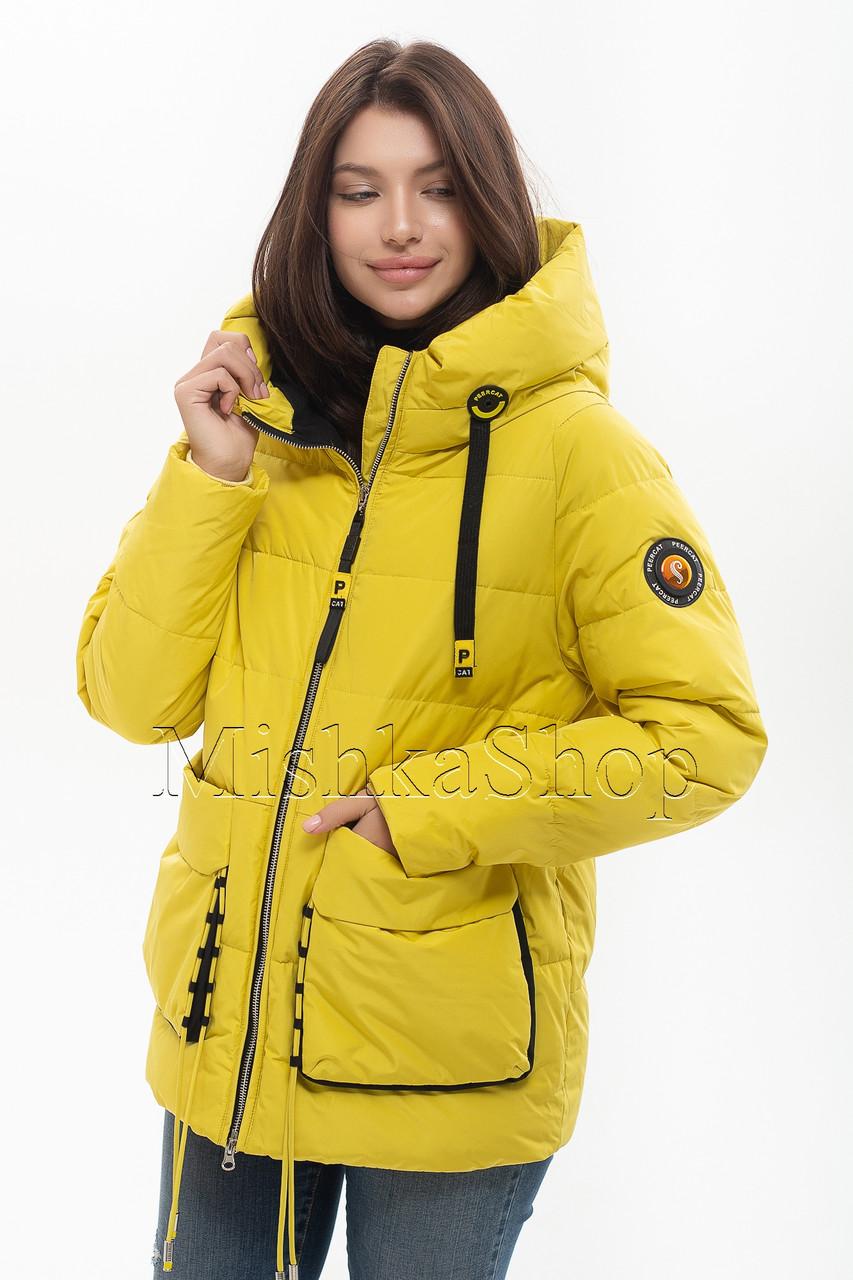 Модный женский пуховик Peercat 20-808 жёлтого цвета
