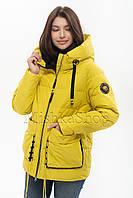Модный женский пуховик Peercat 20-808 жёлтого цвета, фото 1