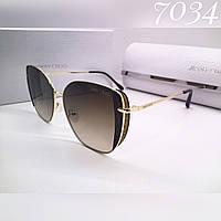 Женские солнцезащитные стильные брендовые очки коричневые градиент, люкс реплика