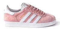 "Женские Кроссовки Adidas Gazelle ""Pink White"" - ""Розовые Белые"" (Копия ААА+)"