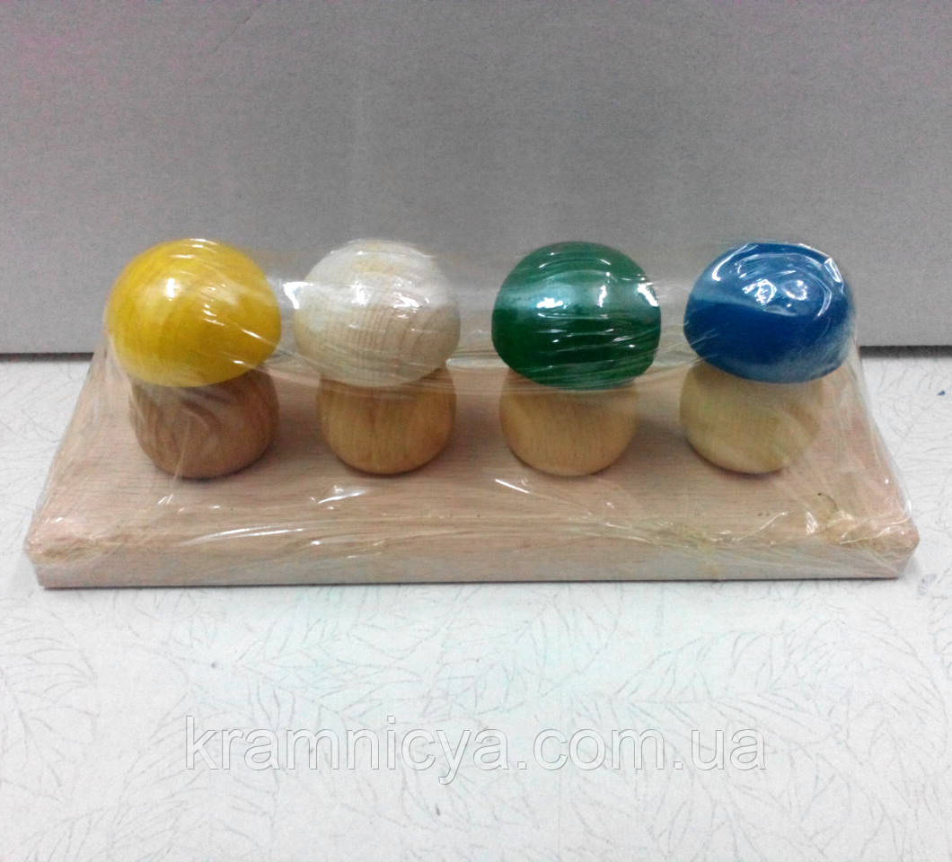 Собери 4 грибочка. Деревянная развивающая игрушка (от 12 мес.)