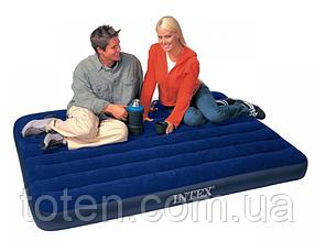 Матрас надувной велюр Intex (64758) 137-191-22см, флокированная поверхность, цвет синий