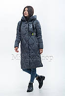 Классный длинный женский пуховик Peercat 20-813 серого цвета, фото 1
