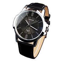 Часы мужские наручные Yazole 332 черный циферблат и черный ремешок