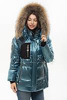 Модный пуховик с натуральным мехом енота Vo-tarun Y021-105 голубого цвета, фото 1