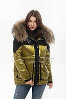 Стильный тёплый пуховик с натуральным мехом енота Vo-tarun Y021-123 цвета золото, фото 1