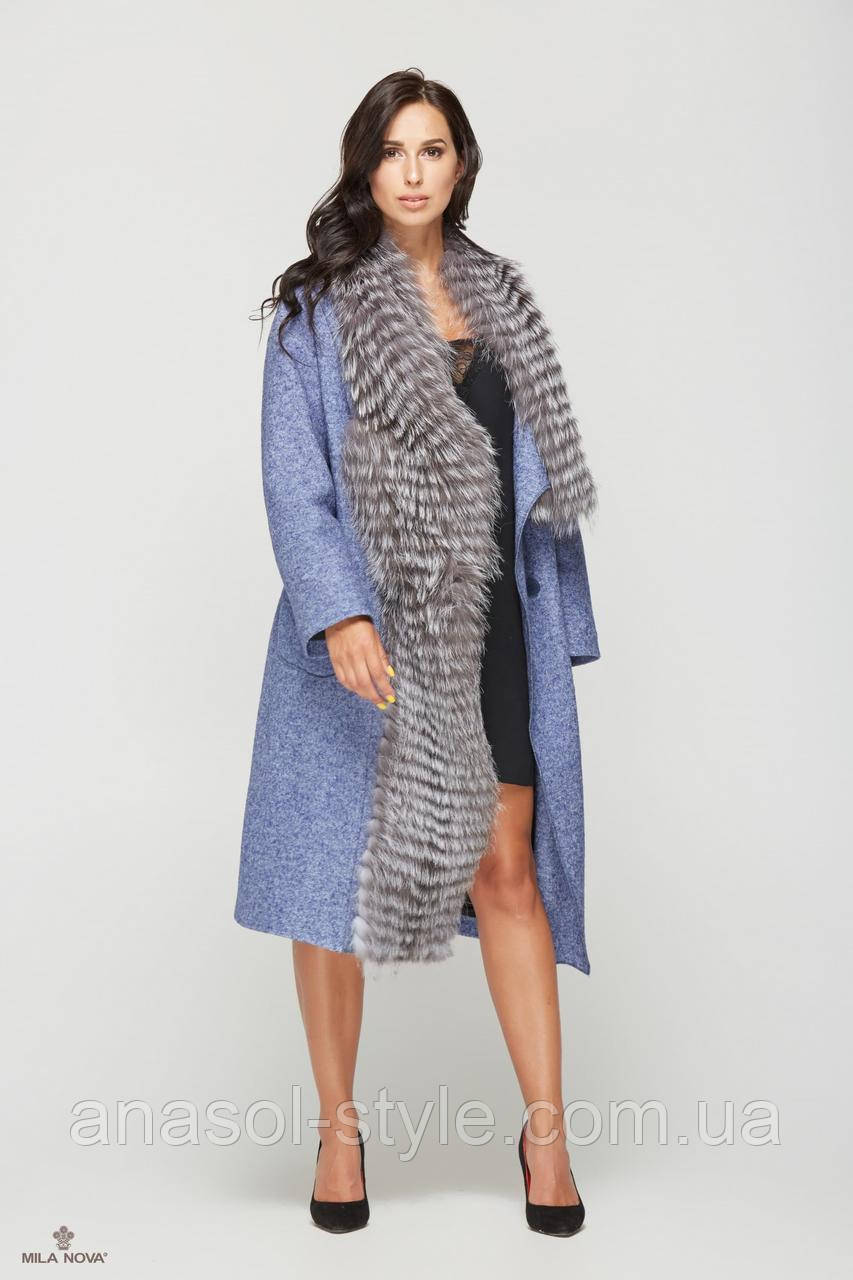 Пальто серый мех чернобурки синее