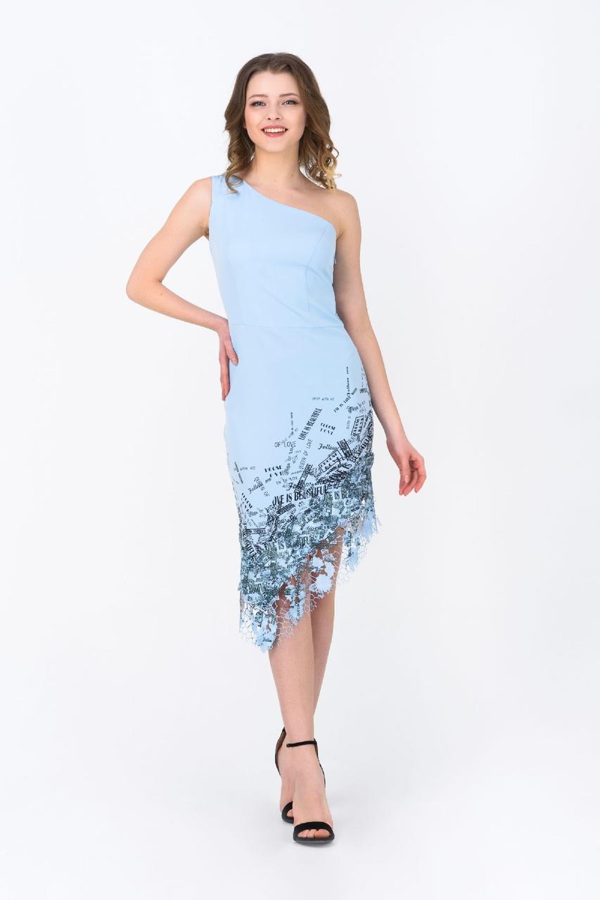 Асимметричное нарядное платье голубое RMD1944-19VC Rica Mare