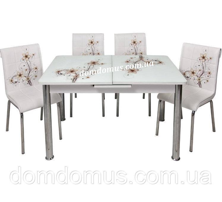"""Комплект кухонной мебели """"Бежевый цветок"""""""" (стол 110*70,  ДСП + каленное стекло + 4 стула)  Турция"""