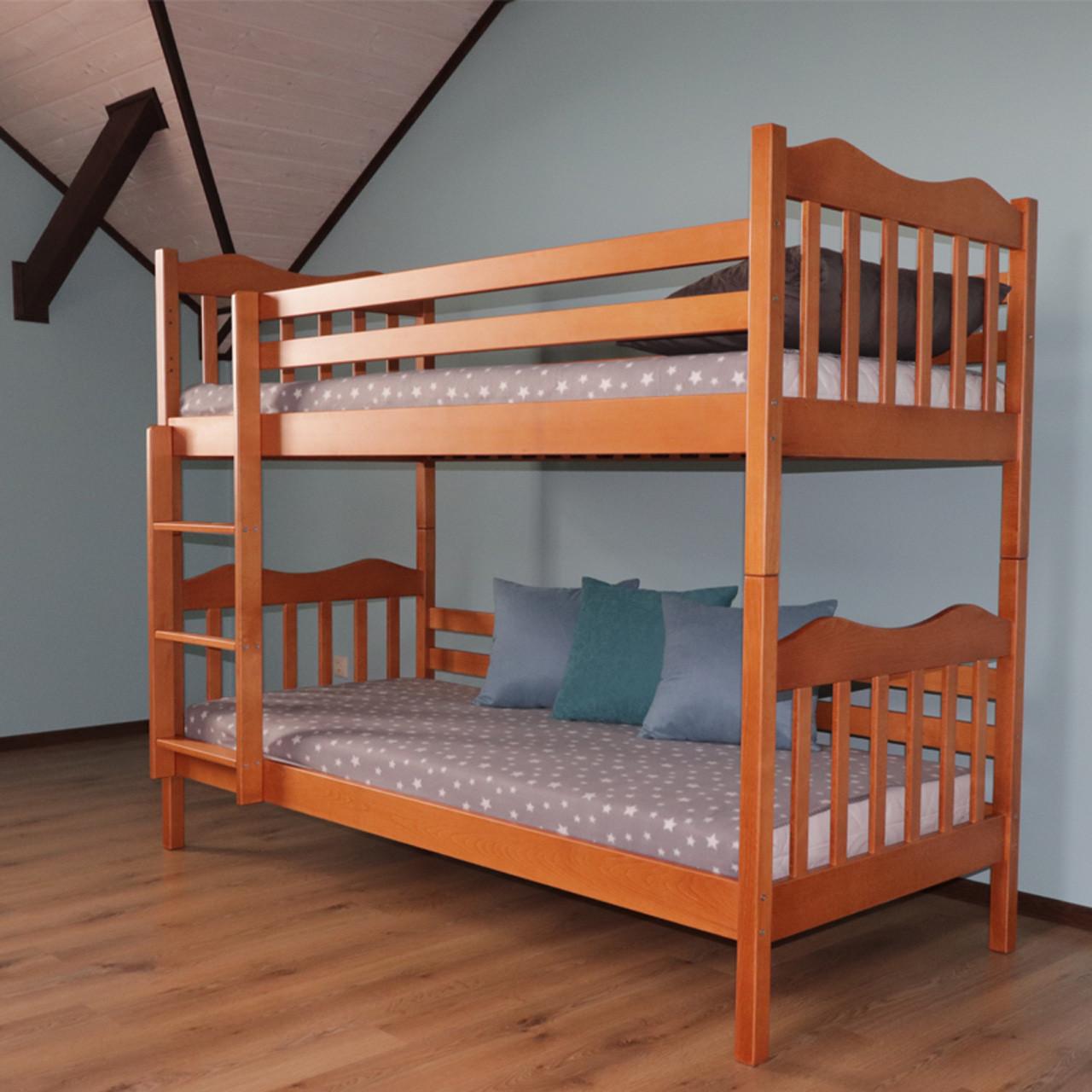 Ліжко двох'ярусне дерев'яне Мауглі масив бука (трансформер)