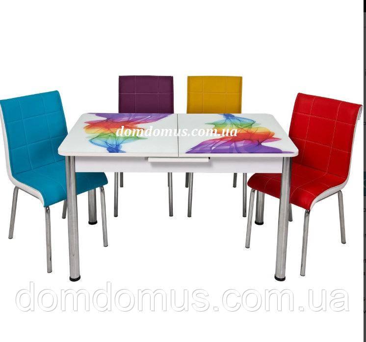 """Комплект кухонной мебели """"Радуга"""" (стол 110*70 см,  ДСП + каленное стекло + 4 стула)  Турция"""
