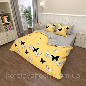 """Евро комплект (Бязь) постельного белья """"Королева Ночи""""   Постельное белье от производителя   Бабочки на желтом"""