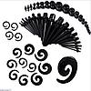 Комбинированный набор растяжек. Плаги и растяжки конусные и спиральные для тоннелей в уши черные (48 шт)