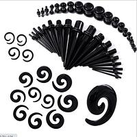 Комбинированный набор растяжек. Плаги и растяжки конусные и спиральные для тоннелей в уши черные (48 шт), фото 1
