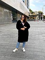 Вязаный женский кардиган Угол с капюшоном Батал, длинный кардиган черный