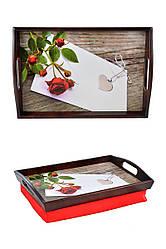 Поднос на подушке с ручками BST 4833 коричнево-красный Кулон сердце 040118, КОД: 1404185