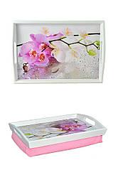 Поднос на подушке BST 4833 бело-розовый с ручками Орхидеи 040051, КОД: 1404252