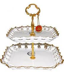 Блюдо фуршетна стійка ST Золота Лілія 25 см Білий psgST-30844, КОД: 944362