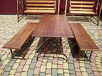 Комплект стол + 2 лавки V.I.T. Коричневый БА-4, КОД: 1641252