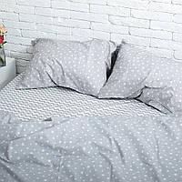 Комплект постельного белья Хлопковые Традиции Евро 200x220 Серый с белым PF028евро, КОД: 353917