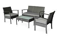 Комплект мебели для сада CRUZO Корсика из искусственного ротанга Черный d0021, КОД: 1687013