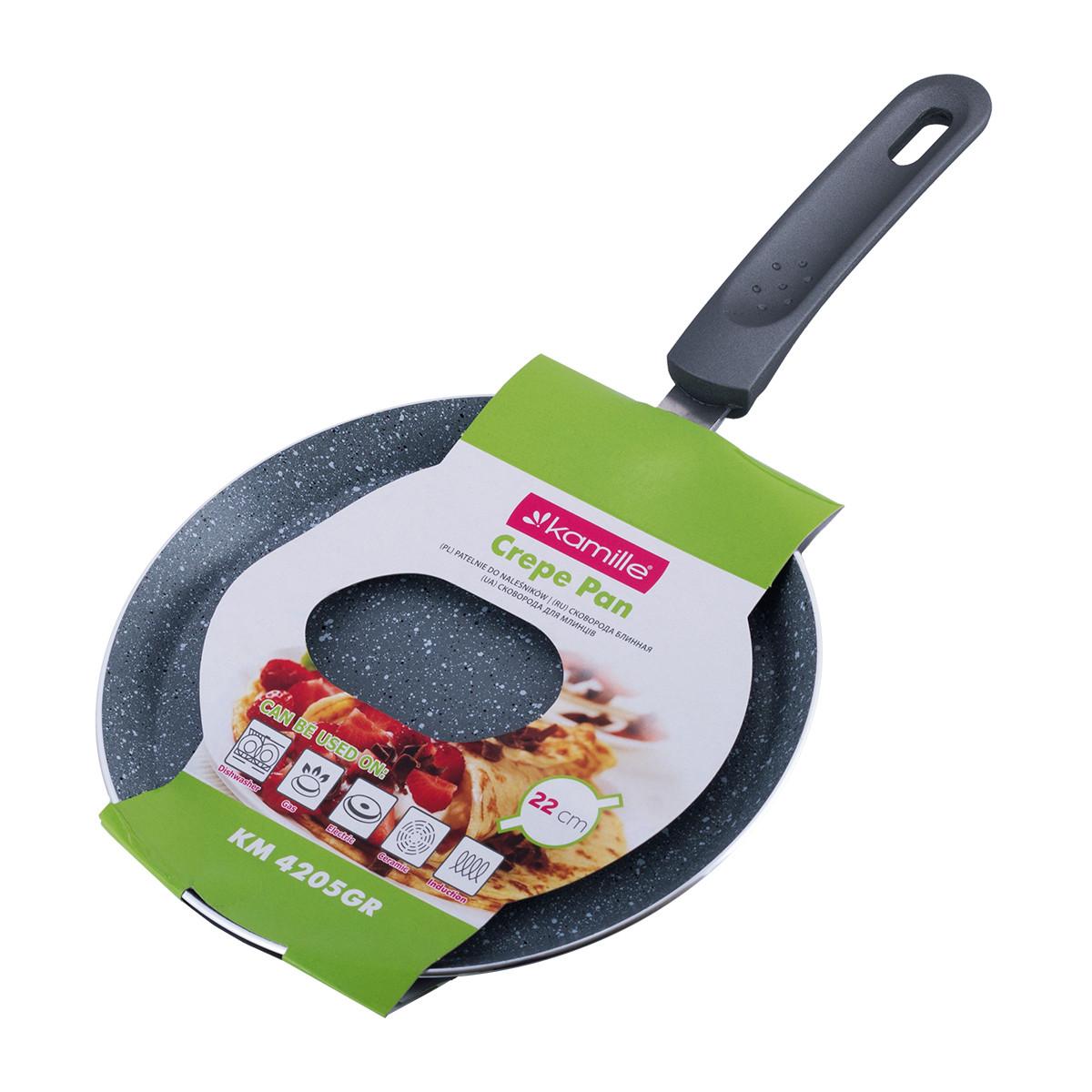 Сковорода блинная Kamille 22см с гранитным покрытием  для индукции и газа KM-4205GR