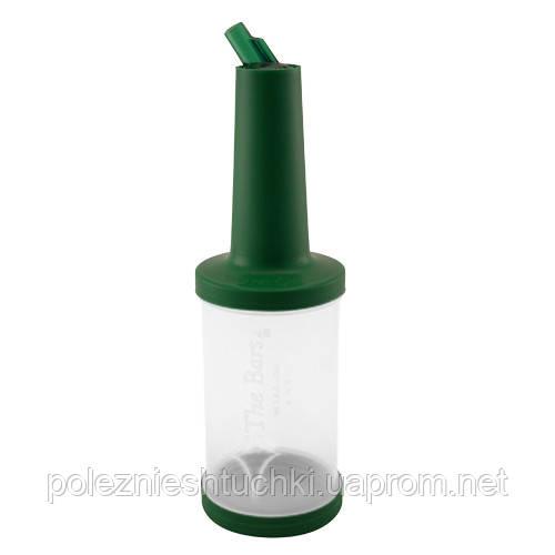 Бутылка для миксов с гейзером 1 л. прозрачная с зеленой крышкой The Bars