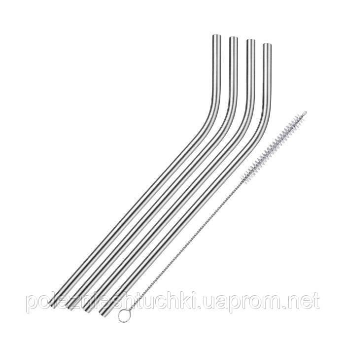 Трубочки из нержавеющей сталь согнутые 4 шт., 21,5 см., диаметр 6 мм. с щеточкой WESTMARK