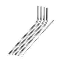 Трубочки из нержавеющей сталь согнутые 4 шт., 21,5 см., диаметр 6 мм. с щеточкой WESTMARK, фото 1