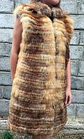 Жилет из меха лисы длинный