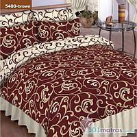 Постельное Белье Viluta ткань Ранфорс, Евро размер 5400 коричневый (вензеля)