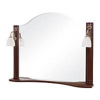 Зеркало с двумя светильниками Аква Родос Арт Деко 100 итальянский орех