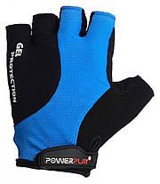 Велорукавички PowerPlay 5028 C XS Чорно-блакитні (5028D_XS_Blue), фото 2