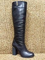 Осенние кожаные сапоги черные удобная колодка
