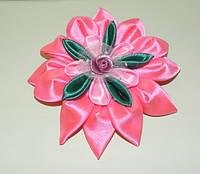 Заколка резинка для волос роза из холодного фарфора