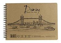 Альбомы для рисования - спираль KRAFT - бумага, 30 листов, 90г/м А5